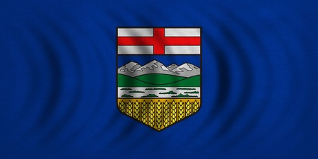alberta: Albertan provincial official flag, symbol. Canada banner and background. Canadian AB patriotic element. Flag of Canadian province of Alberta wavy, detailed fabric texture, accurate size, illustration