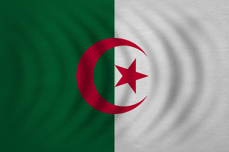 algerian: Algerian national official flag. African patriotic symbol, banner, element, background. Correct colors. Flag of Algeria wavy with real detailed fabric texture, accurate size, illustration
