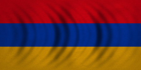 armenian: Armenian national official flag. Patriotic symbol, banner, element, background. Correct colors. Flag of Armenia wavy with real detailed fabric texture, accurate size, illustration