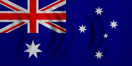 Australian national official flag. Patriotic symbol, banner, element, background. Correct colors. Flag of Australia wavy with real detailed fabric texture, accurate size, illustration