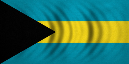 Bahamian national official flag. Patriotic symbol, banner, element, background. Correct colors. Flag of Bahamas wavy with real detailed fabric texture, accurate size, illustration