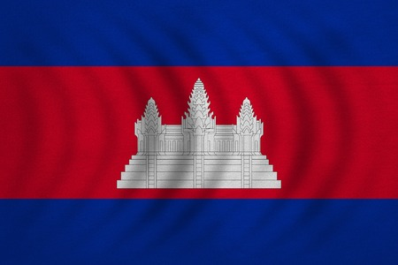 cambodian: Cambodian national official flag. Patriotic symbol, banner, element, background. Correct colors. Flag of Cambodia wavy with real detailed fabric texture, accurate size, illustration