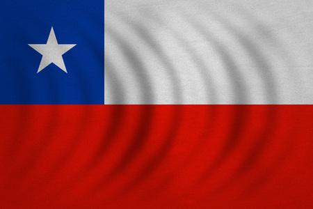 bandera chilena: bandera oficial chilena. símbolo patriótico, bandera, elemento, fondo. colores correctos. Bandera de Chile ondulado con verdadera textura de la tela detallada, tamaño exacto, la ilustración