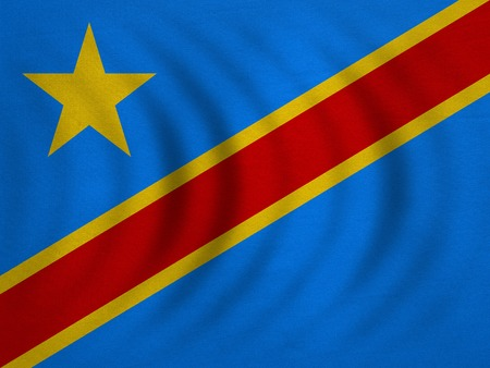 DR Congo national official flag. African patriotic symbol, banner, element, background. Correct color. Flag of Democratic Republic of the Congo wavy detailed fabric texture accurate size, illustration