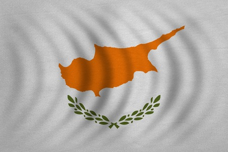 Cypriot national official flag. Patriotic symbol, banner, element, background. Correct colors. Flag of Cyprus wavy with real detailed fabric texture, accurate size, illustration