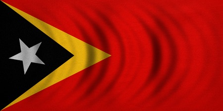 East Timorese national official flag. Patriotic symbol, banner, element, background. Correct colors. Flag of East Timor wavy with real detailed fabric texture, accurate size, illustration
