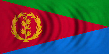 Eritrean national official flag. African patriotic symbol, banner, element, background. Correct colors. Flag of Eritrea wavy with real detailed fabric texture, accurate size, illustration