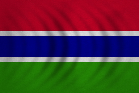 gambia: Gambian national official flag. African patriotic symbol, banner, element, background. Correct colors. Flag of the Gambia wavy with real detailed fabric texture, accurate size, illustration