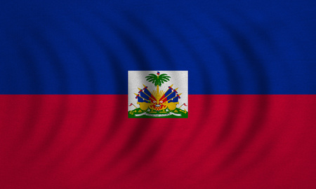 haitian: Haitian national official flag. Patriotic symbol, banner, element, background. Correct colors. Flag of Haiti wavy with real detailed fabric texture, accurate size, illustration