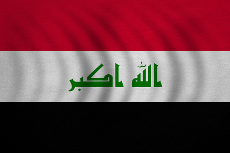 iraqi: Iraqi national official flag. Irak patriotic symbol, element, background. Iraki banner. Correct colors. Flag of Iraq wavy with real detailed fabric texture, accurate size, illustration
