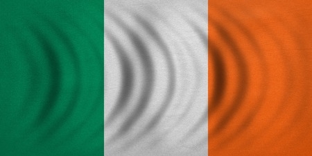 irish banner: Irish national official flag. Patriotic symbol, banner, element, background. Correct colors. Flag of Ireland wavy with real detailed fabric texture, accurate size, illustration