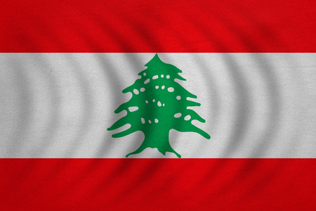 lebanese: Lebanese national official flag. Patriotic symbol, banner, element, background. Correct colors. Flag of Lebanon wavy with real detailed fabric texture, accurate size, illustration Stock Photo