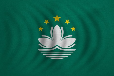 prc: Macanese official flag. Patriotic chinese symbol, banner, element, background. Macau is special region of PRC. Correct colors. Flag of Macau wavy, detailed fabric texture, accurate size, illustration Stock Photo