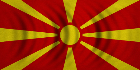 Macedonian national official flag. Patriotic symbol, banner, element, background. Correct colors. Flag of Macedonia wavy with real detailed fabric texture, accurate size, illustration