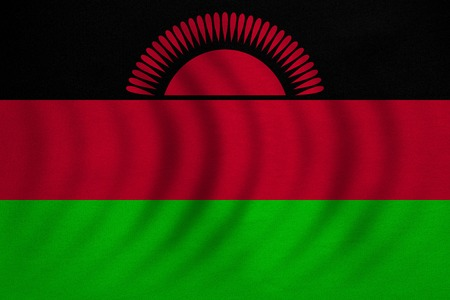 malawian: Malawian national official flag. African patriotic symbol, banner, element, background. Correct colors. Flag of Malawi wavy with real detailed fabric texture, accurate size, illustration Stock Photo