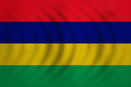 Mauritian national official flag. African patriotic symbol, banner, element, background. Correct colors. Flag of Mauritius wavy with real detailed fabric texture, accurate size, illustration Stock Photo