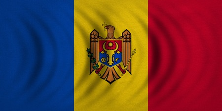 moldovan: Moldovan national official flag. Patriotic symbol, banner, element, background. Correct colors. Flag of Moldova wavy with real detailed fabric texture, accurate size, illustration Stock Photo