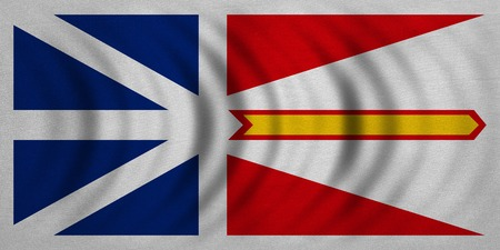 flying flag: Canadian provincial NL patriotic element, official symbol. Canada banner and background. Flag of the Canadian province of Newfoundland and Labrador wavy fabric texture accurate size color illustration