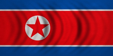 korean national: North Korean national official flag. Patriotic DPRK symbol, banner, element, background. Correct colors. Flag of North Korea wavy with real detailed fabric texture, accurate size, illustration