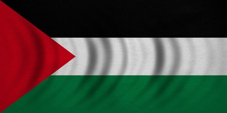 Palestinian national official flag. Patriotic symbol, banner, element, background. Correct colors. Flag of Palestine wavy with real detailed fabric texture, accurate size, illustration