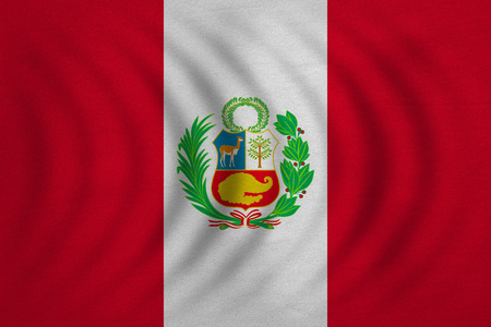 peruvian: Peruvian national official flag. Patriotic symbol, banner, element, background. Correct colors. Flag of Peru wavy with real detailed fabric texture, accurate size, illustration