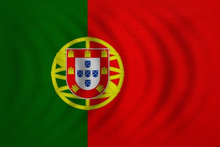 Portuguese national official flag. Patriotic symbol, banner, element, background. Correct colors. Flag of Portugal wavy with real detailed fabric texture, accurate size, illustration