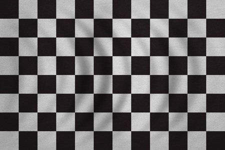 checked flag: Checkered racing flag. Symbolic design of end of car race. Black and white background. Checkered flag wavy with real detailed fabric texture, accurate size, illustration Stock Photo