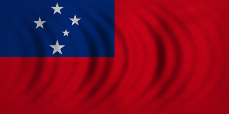 Samoan national official flag. Patriotic symbol, banner, element, background. Correct colors. Flag of Samoa wavy with real detailed fabric texture, accurate size, illustration Stock Photo