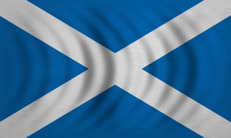Scottish national official flag. Patriotic symbol, banner, element, background. Correct colors. Flag of Scotland wavy with real detailed fabric texture, accurate size, illustration Stock Photo