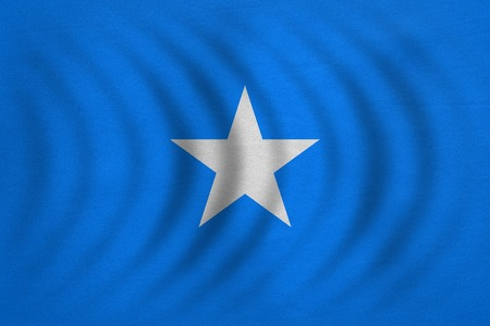 Somali national official flag. African patriotic symbol, banner, element, background. Correct colors. Flag of Somalia wavy with real detailed fabric texture, accurate size, illustration