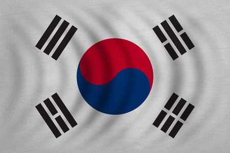 korean national: South Korean national official flag. Patriotic symbol, banner, element, background. Correct colors. Flag of South Korea wavy with real detailed fabric texture, accurate size, illustration