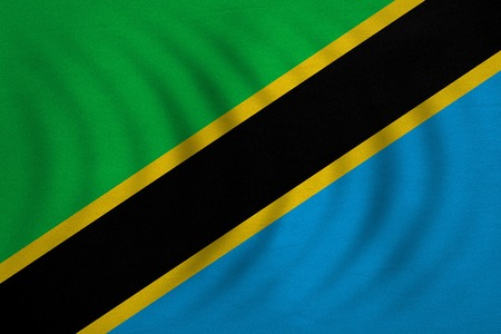 Tanzanian national official flag. African patriotic symbol, banner, element, background. Correct colors. Flag of Tanzania wavy with real detailed fabric texture, accurate size, illustration
