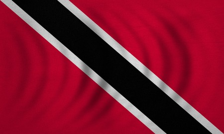 trinidadian: Trinidadian and Tobagonian national official flag. Patriotic symbol, banner, element, background. Correct colors. Flag of Trinidad and Tobago wavy, detailed fabric texture, accurate size, illustration Stock Photo