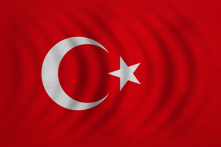Turkish national official flag. Patriotic symbol, banner, element, background. Correct colors. Flag of Turkey wavy with real detailed fabric texture, accurate size, illustration Stock Photo