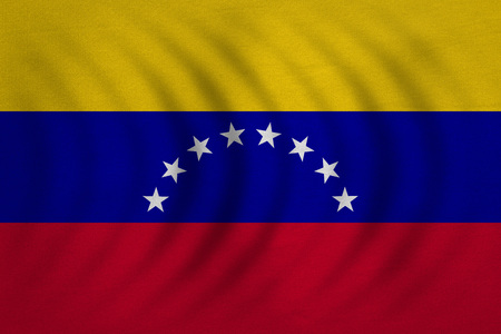 Venezuelan national official flag. Bolivarian Republic of Venezuela patriotic symbol, banner, element, background. Correct color. Flag of Venezuela wavy real fabric texture, accurate size illustration