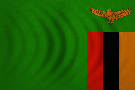 Zambian national official flag. African patriotic symbol, banner, element, background. Correct colors. Flag of Zambia wavy with real detailed fabric texture, accurate size, illustration