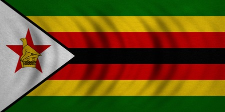 Zimbabwean national official flag. African patriotic symbol, banner, element, background. Correct colors. Flag of Zimbabwe wavy with real detailed fabric texture, accurate size, illustration