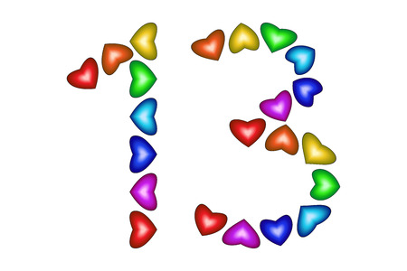 thirteen: Number 13 made of colorful hearts on white. Love figures. Multicolored icon. Greeting card. Happy birthday invitation. Holiday anniversary sign. Number thirteen from rainbow hearts Vector illustration