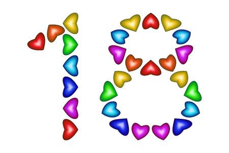 番号 18 ホワイト カラフルなハートの。愛の数字。色とりどりのアイコン。グリーティング カード。幸せな誕生日の招待状。休日記念日の記号。虹
