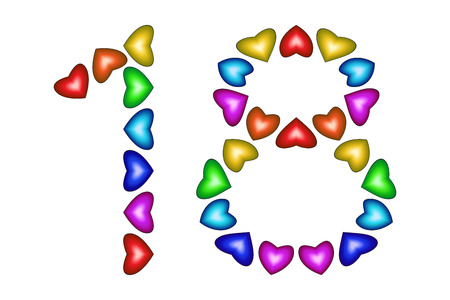 Number 18 made of colorful hearts on white. Love figures. Multicolored icon. Greeting card. Happy birthday invitation. Holiday anniversary sign. Number eighteen from rainbow hearts Vector illustration