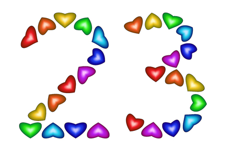 Number 23 of colorful hearts on white. Symbol for happy birthday, event, invitation, greeting card, award, ceremony. Holiday anniversary sign. Multicolored icon. Twenty three in rainbow colors. Vector