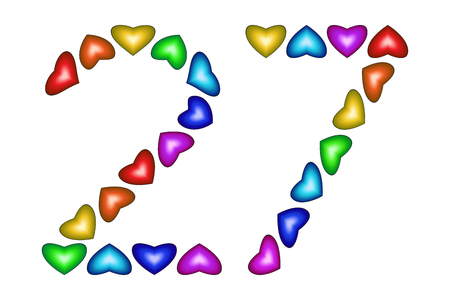 27 years old: Number 27 of colorful hearts on white. Symbol for happy birthday, event, invitation, greeting card, award, ceremony. Holiday anniversary sign. Multicolored icon. Twenty seven in rainbow colors. Vector