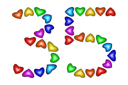 Number 35 of colorful hearts on white. Symbol for happy birthday, event, invitation, greeting card, award, ceremony. Holiday anniversary sign. Multicolored icon. Thirty five in rainbow colors. Vector
