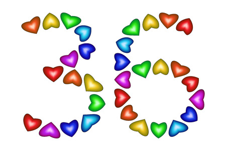 Number 36 of colorful hearts on white. Symbol for happy birthday, event, invitation, greeting card, award, ceremony. Holiday anniversary sign. Multicolored icon. Thirty six in rainbow colors. Vector