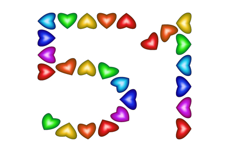 Number 51 of colorful hearts on white. Symbol for happy birthday, event, invitation, greeting card, award, ceremony. Holiday anniversary sign. Multicolored icon. Fifty one in rainbow colors. Vector