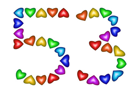 Number 53 of colorful hearts on white. Symbol for happy birthday, event, invitation, greeting card, award, ceremony. Holiday anniversary sign. Multicolored icon. Fifty three in rainbow colors. Vector