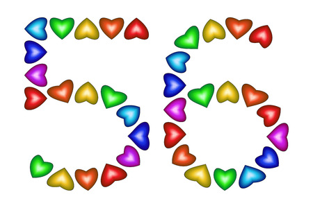 six year old: Number 56 of colorful hearts on white. Symbol for happy birthday, event, invitation, greeting card, award, ceremony. Holiday anniversary sign. Multicolored icon. Fifty six in rainbow colors. Vector
