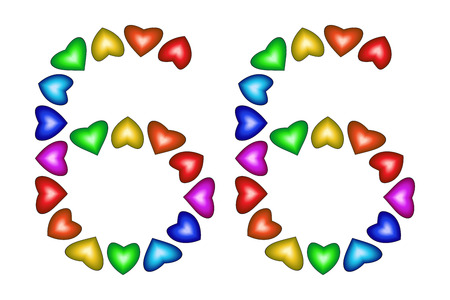 Number 66 of colorful hearts on white. Symbol for happy birthday, event, invitation, greeting card, award, ceremony. Holiday anniversary sign. Multicolored icon. Sixty six in rainbow colors. Vector