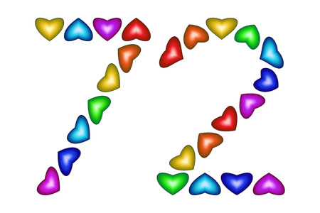 Number 72 of colorful hearts on white. Symbol for happy birthday, event, invitation, greeting card, award, ceremony. Holiday anniversary sign. Multicolored icon. Seventy two in rainbow colors. Vector Illustration