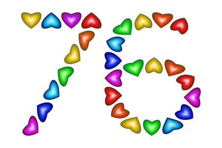 six year old: Number 76 of colorful hearts on white. Symbol for happy birthday, event, invitation, greeting card, award, ceremony. Holiday anniversary sign. Multicolored icon. Seventy six in rainbow colors. Vector